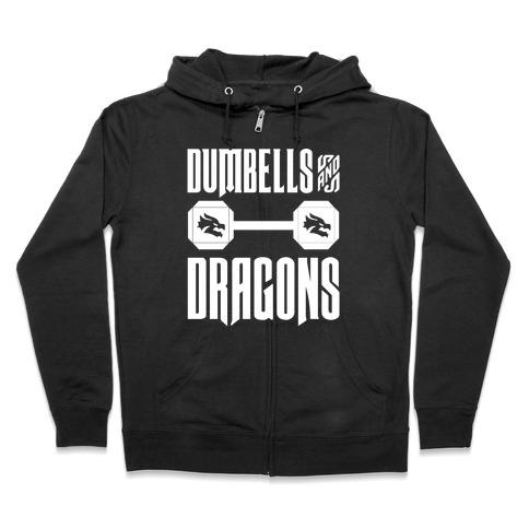 Dumbells & Dragons Parody White Print Zip Hoodie
