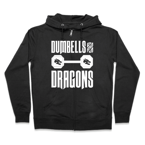 Dumbells & Dragons Parody White Print Zip Hoodie