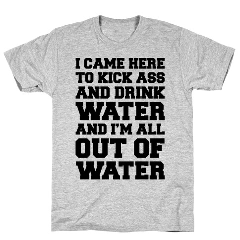 I Came Here To Kick Ass and Drink Water Parody T-Shirt