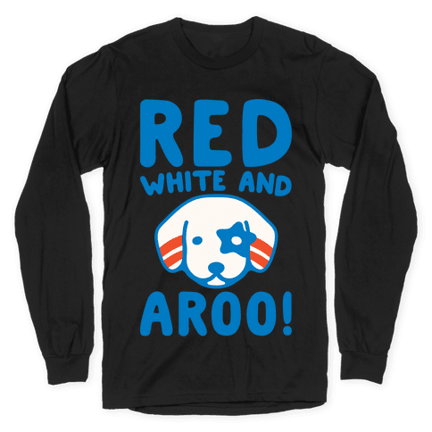 Red White and Aroo White Print Long Sleeve T-Shirt