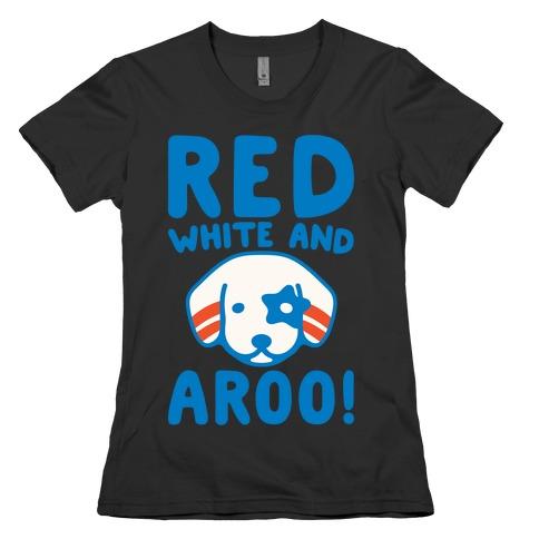 Red White and Aroo White Print Womens T-Shirt