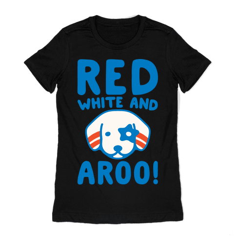 Red White and Aroo White Print Womens T-Shirt