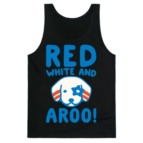 Red White and Aroo White Print Tank Top