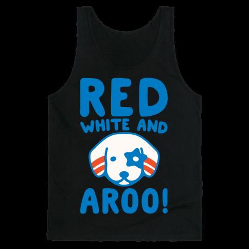 Red White and Aroo White Print Tank Top