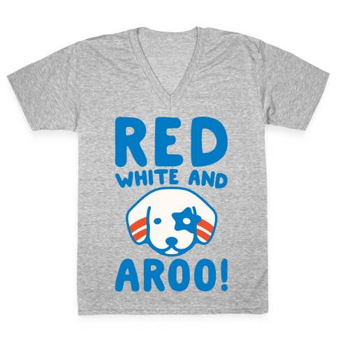 Red White and Aroo White Print V-Neck Tee Shirt