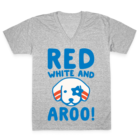 Red White and Aroo White Print V-Neck Tee Shirt
