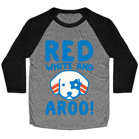 Red White and Aroo White Print Baseball Tee