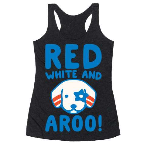 Red White and Aroo White Print Racerback Tank Top