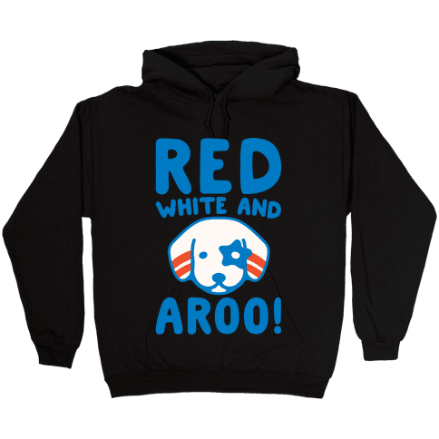 Red White and Aroo White Print Hooded Sweatshirt