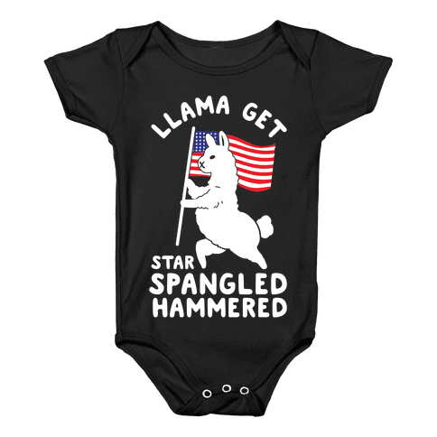 Llama Get Star Spangled Hammered Baby Onesy