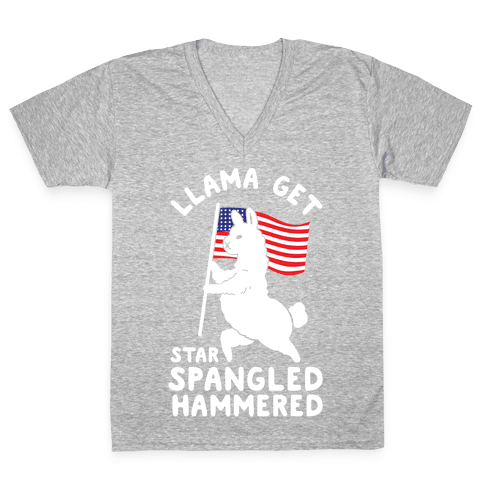 Llama Get Star Spangled Hammered V-Neck Tee Shirt