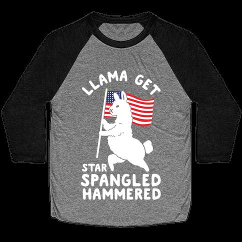 Llama Get Star Spangled Hammered Baseball Tee