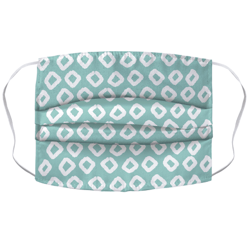 Abstract Diamond Biscay Green Boho Pattern Face Mask