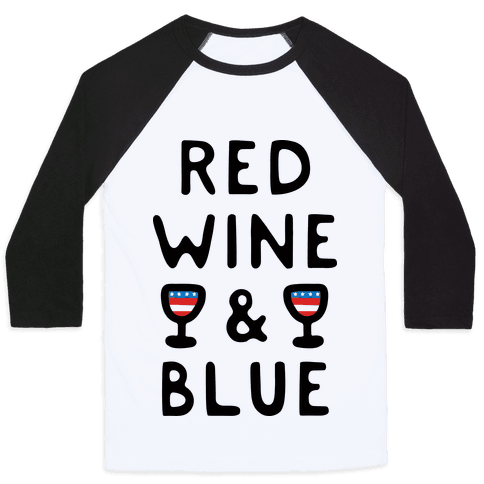 Red Wine And Blue Baseball Tee