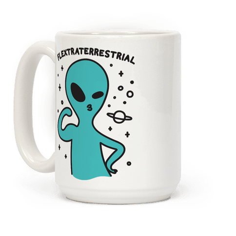 Flextraterrestrial Flexing Alien Coffee Mug