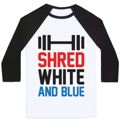 Shred White And Blue Baseball Tee