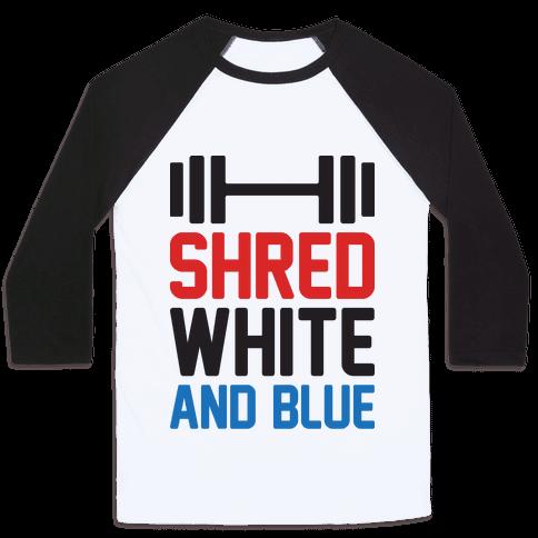 Shred White And Blue Baseball Tee