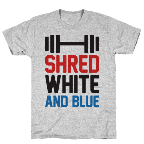 Shred White And Blue Mens/Unisex T-Shirt