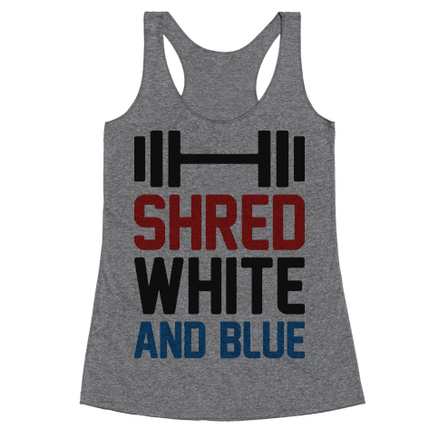 Shred White And Blue Racerback Tank Top