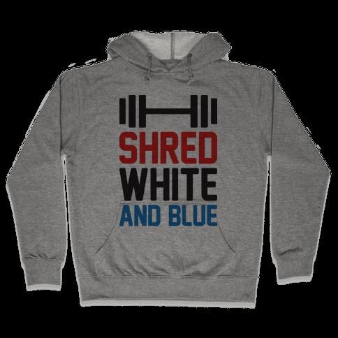 Shred White And Blue Hooded Sweatshirt