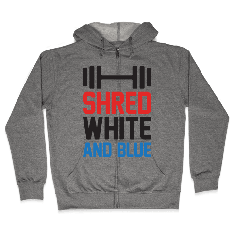 Shred White And Blue Zip Hoodie