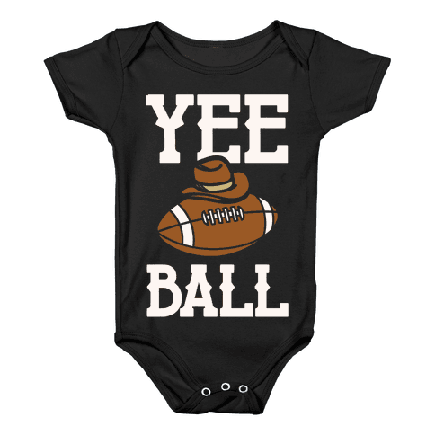 Yee Ball (Football) White Print Baby Onesy