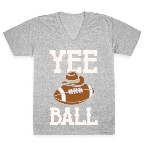Yee Ball (Football) White Print V-Neck Tee Shirt