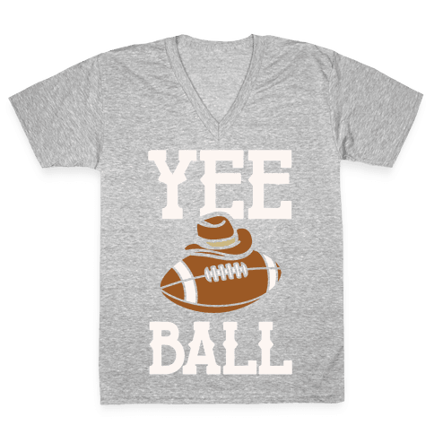 Yee Ball (Football) White Print V-Neck Tee Shirt