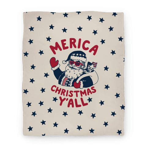 Merica Christmas Y'all Blanket
