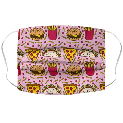 Junk Food Pattern Accordion Face Mask