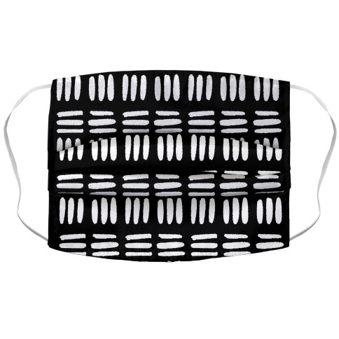 Dashed Lines Black and White Boho Pattern Accordion Face Mask