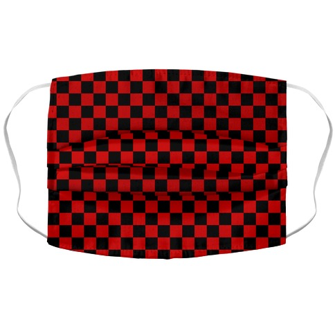 Checkered Black and Red Accordion Face Mask