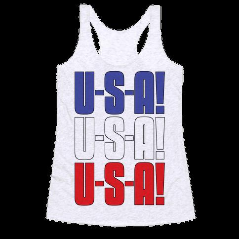 U-S-A! U-S-A! U-S-A! Racerback Tank Top