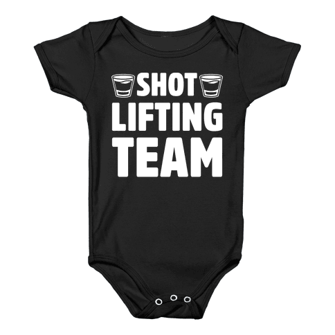 Shot Lifting Team White Print Baby Onesy