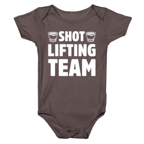 Shot Lifting Team White Print Baby One-Piece