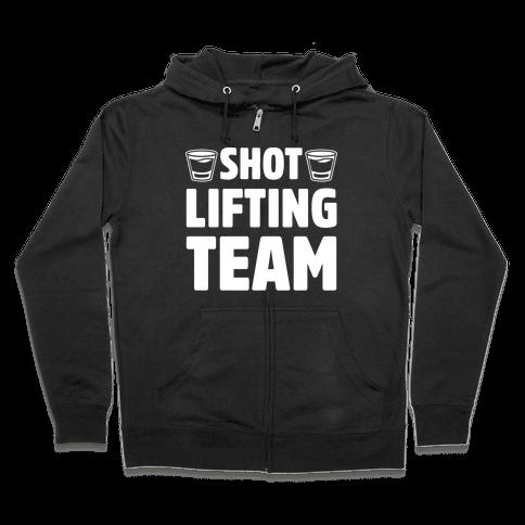 Shot Lifting Team White Print Zip Hoodie