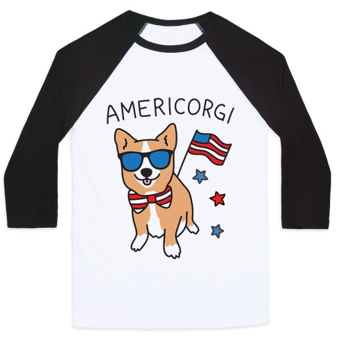 AmeriCorgi Patriotic Corgi Baseball Tee