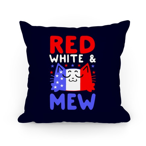 Red, White, And Mew Pillow