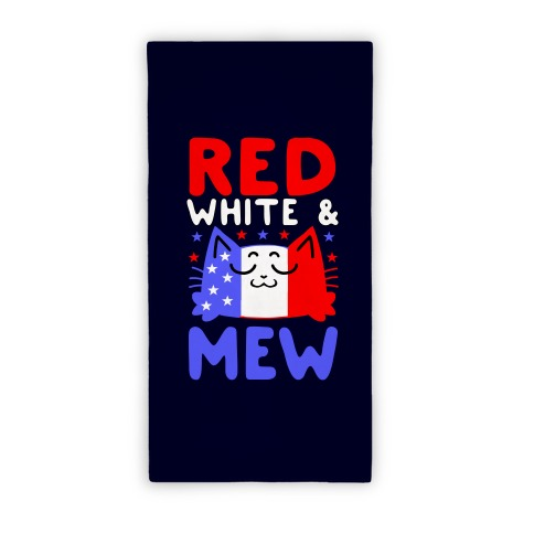 Red, White, And Mew Beach Towel