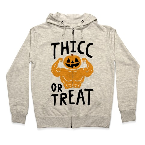 Thicc Or Treat Halloween Zip Hoodie