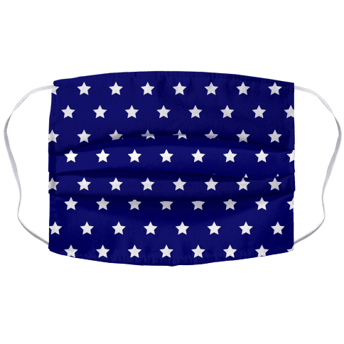 Navy Blue White Stars Accordion Face Mask