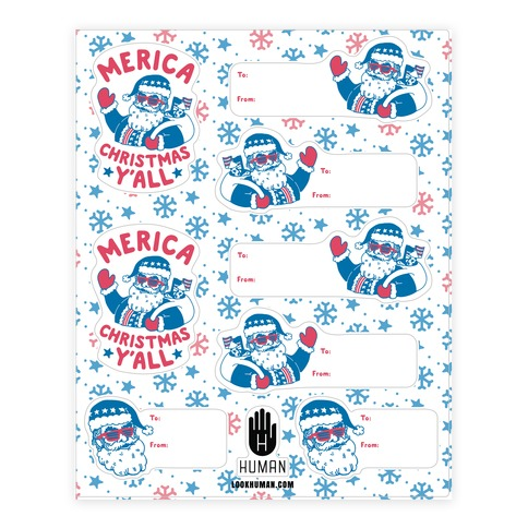 Merica Christmas Gift Tag Sticker and Decal Sheet