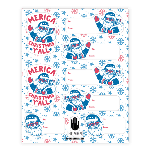 Merica Christmas Gift Tag  Sticker/Decal Sheet