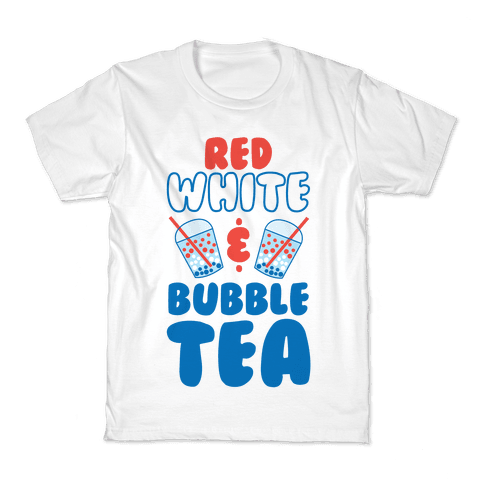 Red, White and Bubble Tea Kids T-Shirt