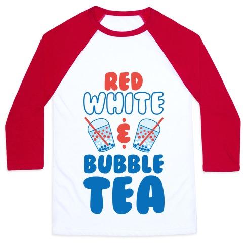 Red, White and Bubble Tea Baseball Tee