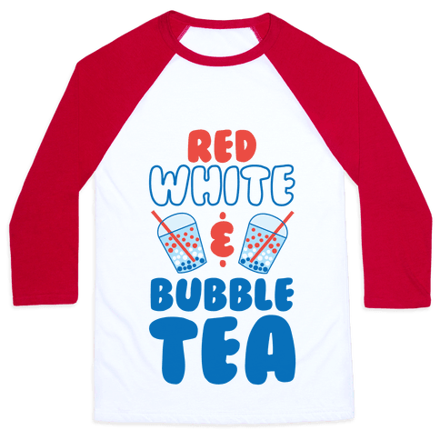 Red, White and Bubble Tea Baseball Tee