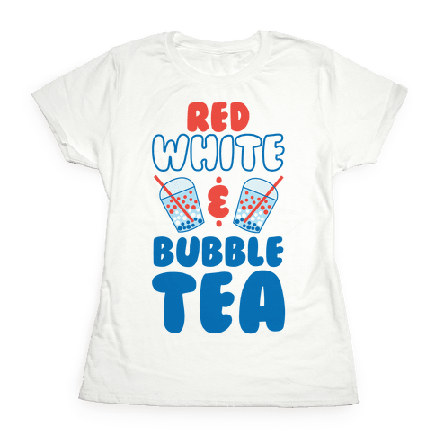 Red, White and Bubble Tea Womens T-Shirt