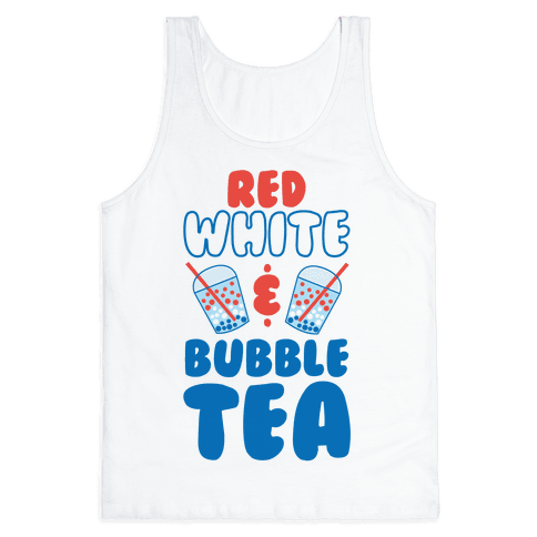 Red, White and Bubble Tea Tank Top