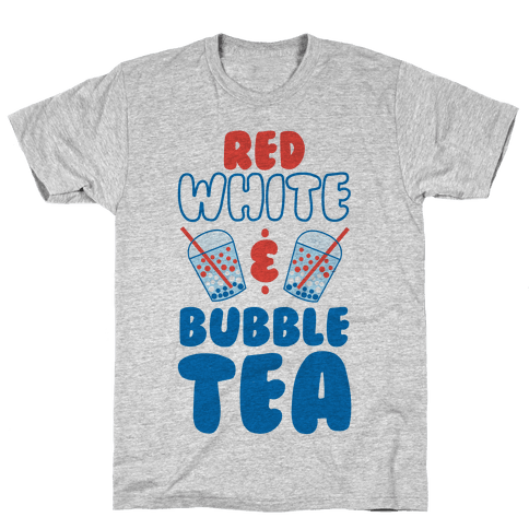Red, White and Bubble Tea Mens/Unisex T-Shirt