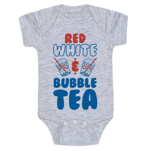 Red, White and Bubble Tea Baby Onesy